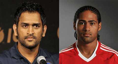 M.S. Dhoni and Glen Johnson
