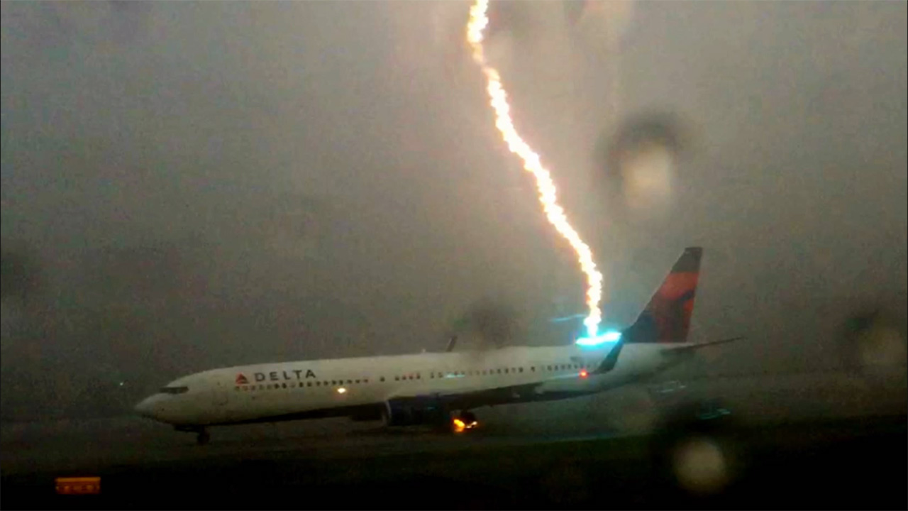 Scary Footage Of A Plane Being Struck By Lightning Is