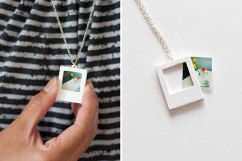 26 diy ideas to turn your photos into creative gifts polaroid charm necklace negle Choice Image