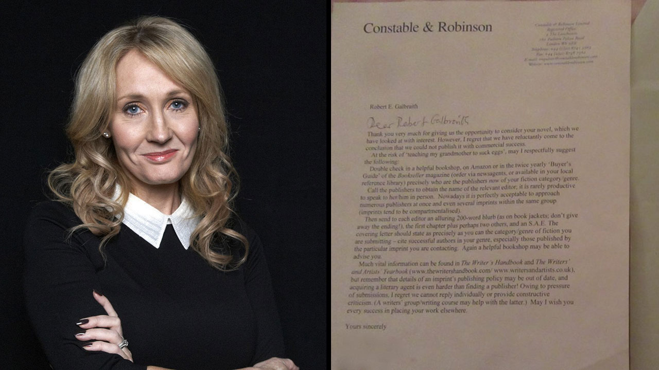 jk rowling shared her 2 rejection letters and a kickass
