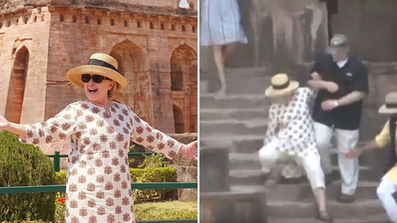 Former FLOTUS Hillary Clinton Visits Indore City, Slips Down The Stairs. Twice!