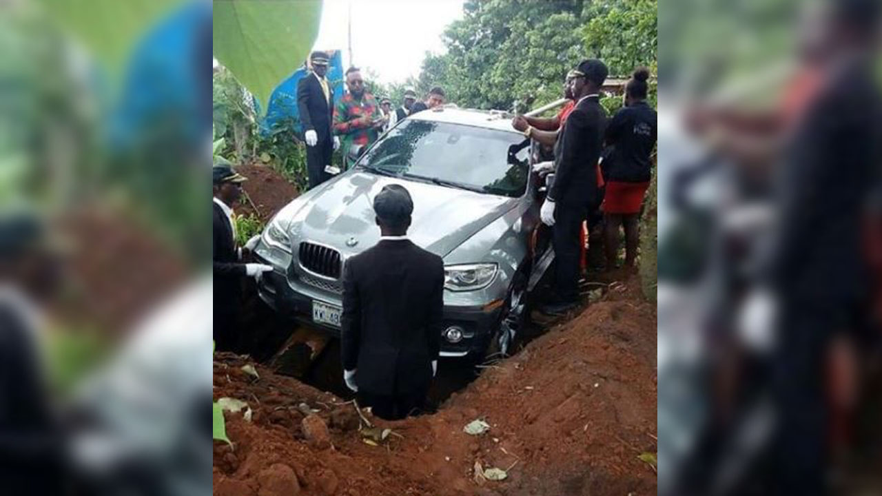 Nigerian Man Buries Father In ₹ 59 Lakh Bmw Car Leaves