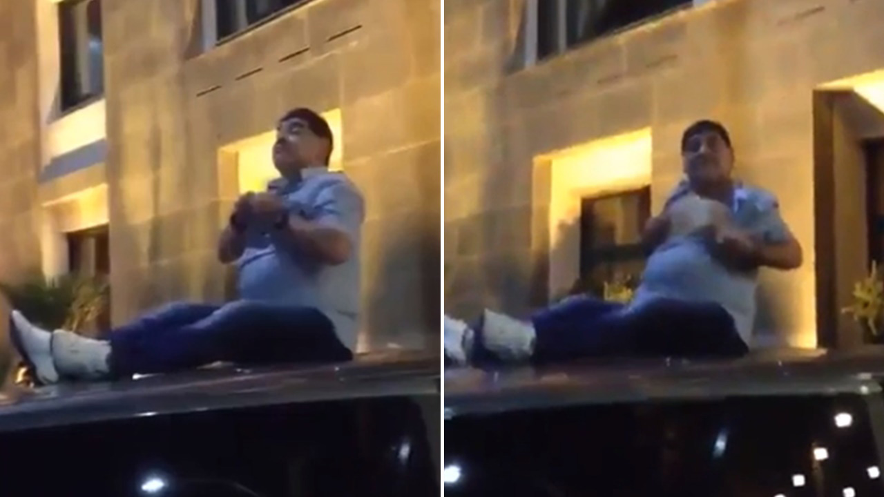 Drunk Diego Maradona Sits On Top Of A Car Amp Flashes His