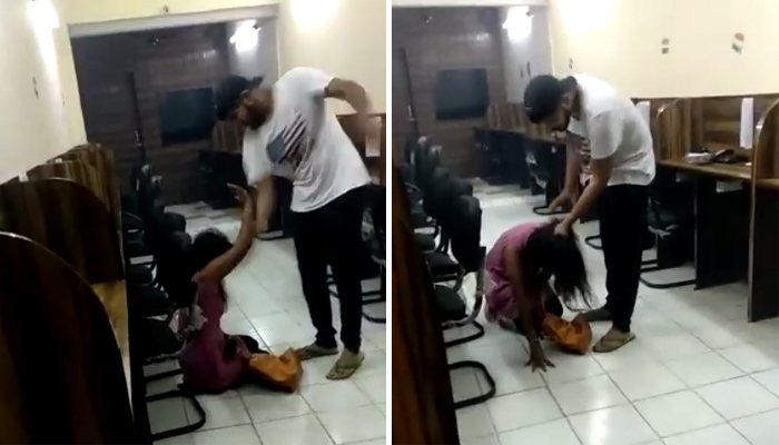 Shocking: Cop's son caught on cam! Mercilessly beats woman