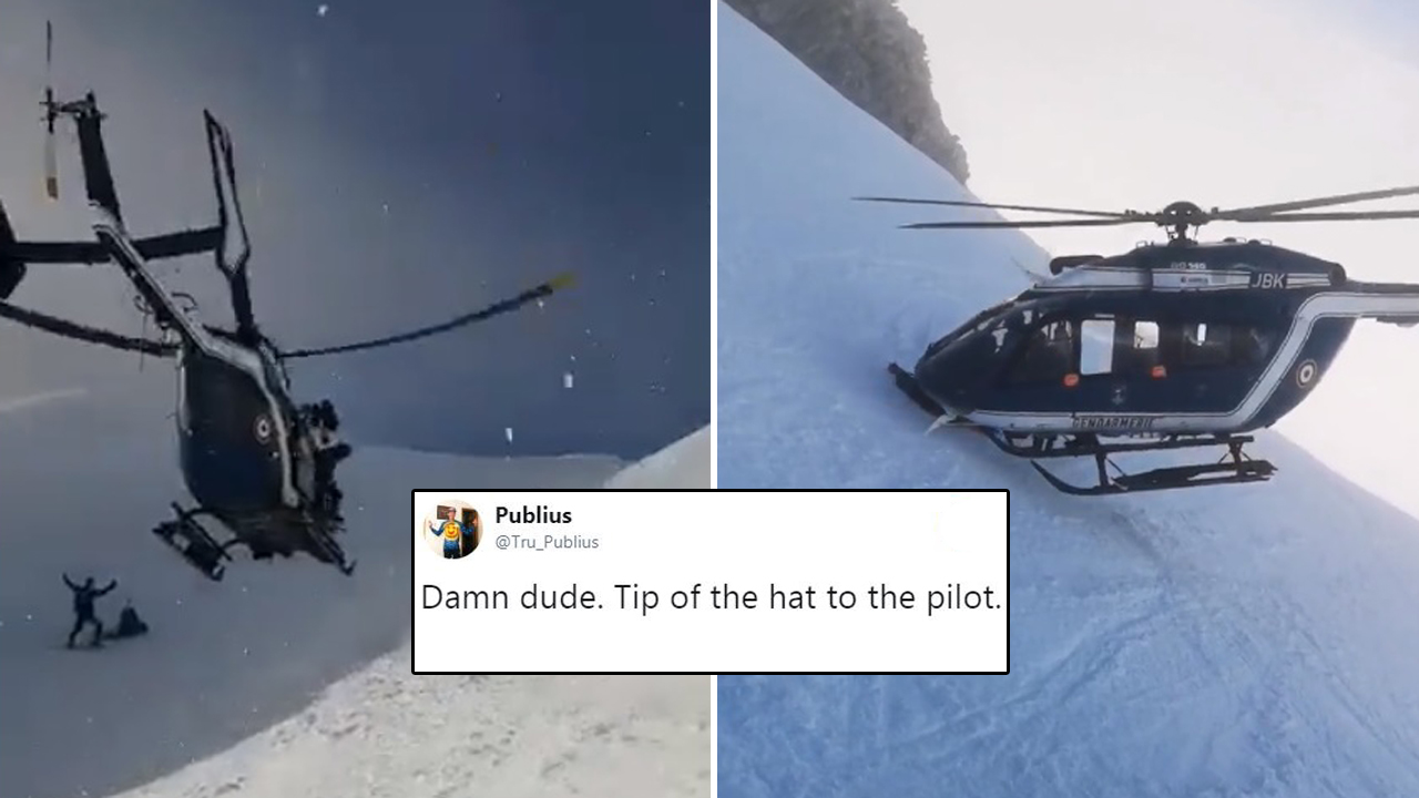 Pilot Makes Daredevil Rescue On The French Alps Without Even Landing The Helicopter