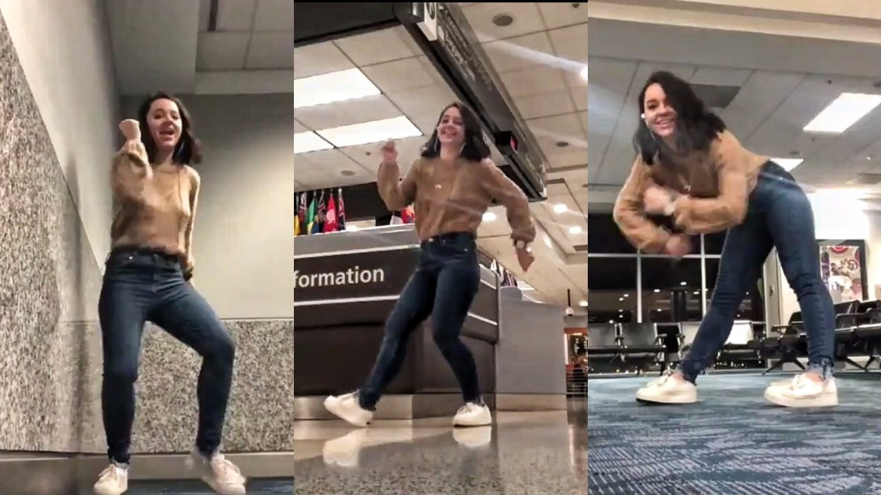 Girl Misses Her Flight & Decides To Dance Through 4-Hour Wait, Special Appearance By A Cat