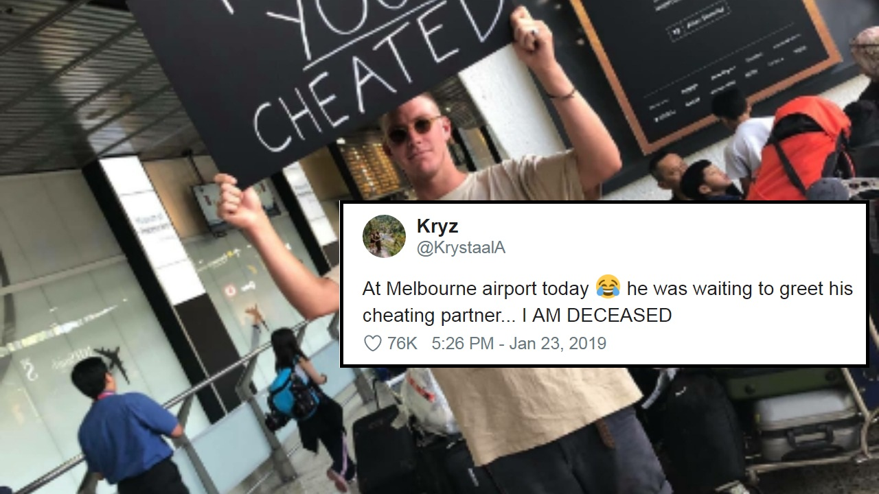 man welcomes cheating partner at airport with giant