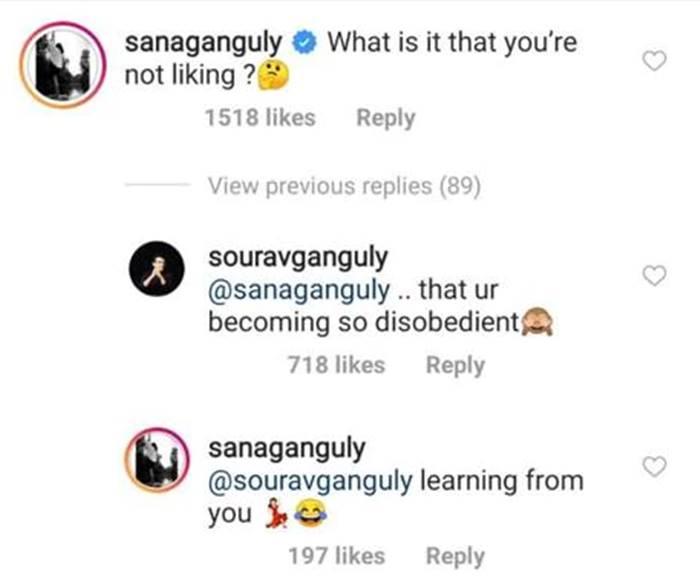 Sourav Ganguly, daughter Sana engage in light Instagram banter