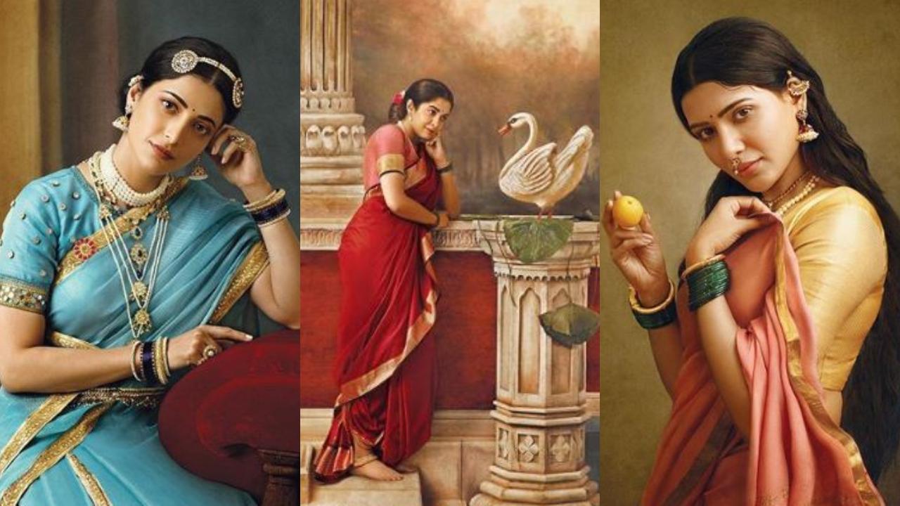 Image result for photographer-recreates-iconic-paintings-of-raja-ravi-varma-with-shruti-haasan-see-pics