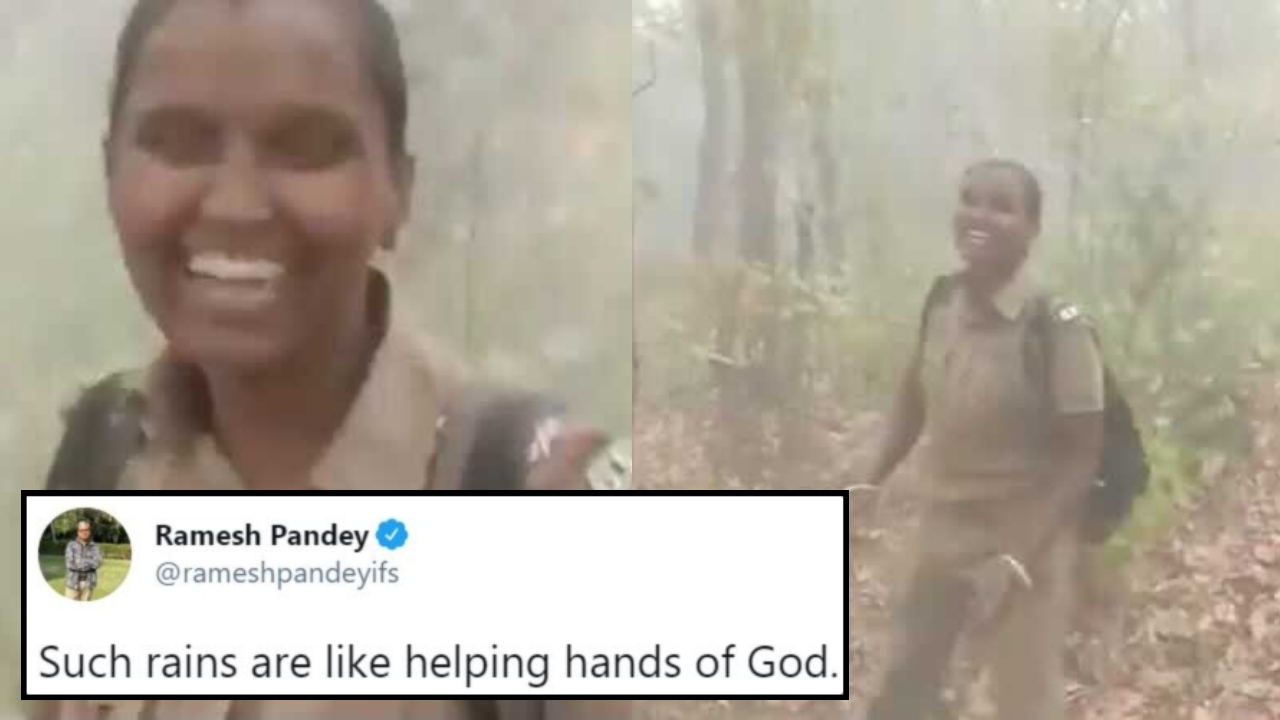 Female Forest Guard Dances Joyously In The Rain Hoping It Will Extinguish Fire Raging In Similipal